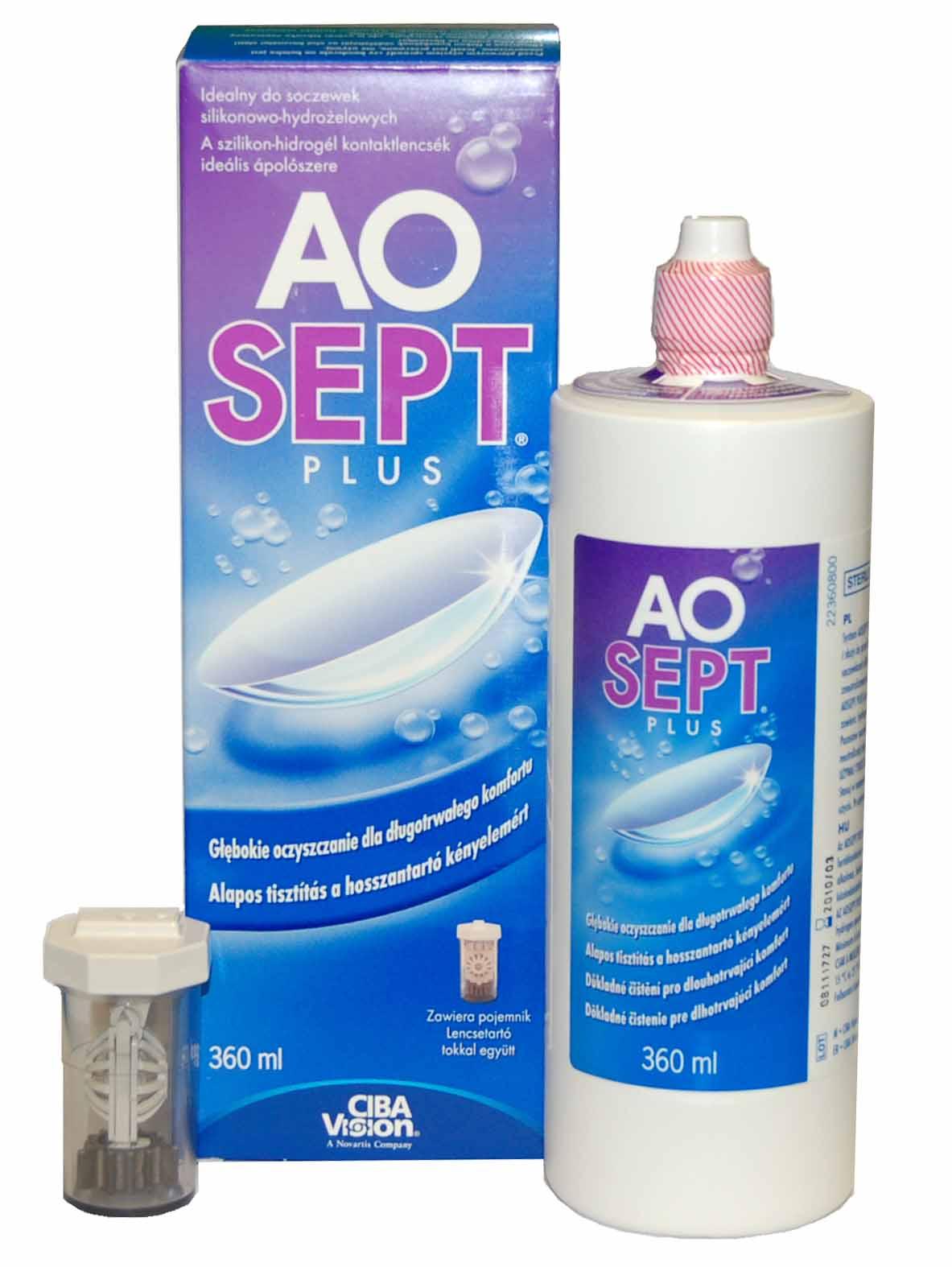 Solutie intretinere lentile de contact AO Sept Plus 360 ml + suport lentile cadou
