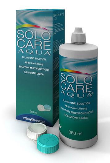 Solutie intretinere lentile de contact Solo-Care Aqua 360 ml + suport lentile cadou
