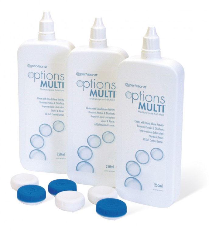 Solutie intretinere lentile de contact Options Multi 3x250 ml + suport lentile cadou